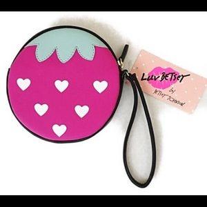Betsey Johnson berry pouch Wristlet